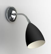 Joel Adjustable Wall Light in Black and Polished Chrome, Switched - astro 1223014 (7157)